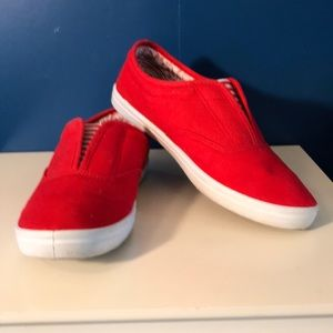 Red Canvas Slip On Shoes